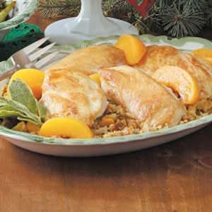 Peach Chicken with Stuffing Recipe