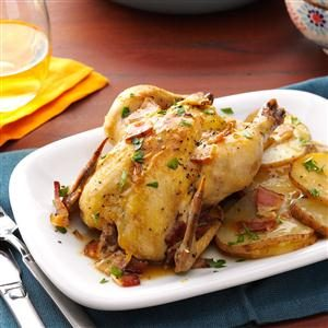 Cornish Hens with Potatoes Recipe