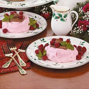 Chocolate-Filled Raspberry Meringues Recipe