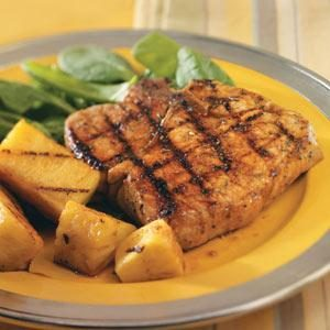 Teriyaki Glazed Pineapple & Pork Chops