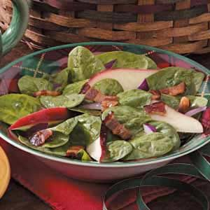 Hot Spinach Apple Salad Recipe