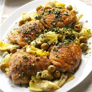 Double-Duty Chicken with Olives & Artichokes Recipe