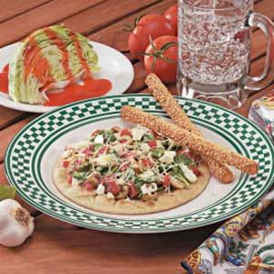 Greek Pita Pizzas Recipe