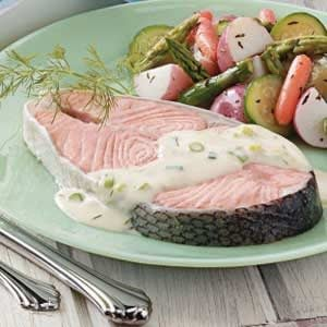 Creamy Dill Salmon Steaks Recipe