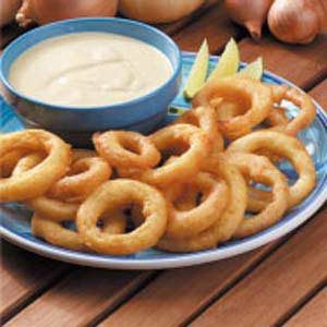 Fried Onion Rings with Lime Dipping Sauce Recipe