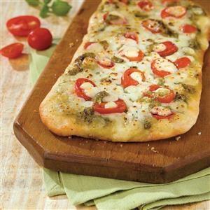 Flatbread Pesto Pizza Recipe