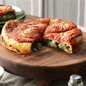 Spinach-Stuffed Pizza Recipe