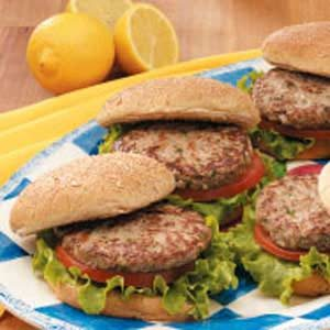 Lemon Turkey Burgers Recipe