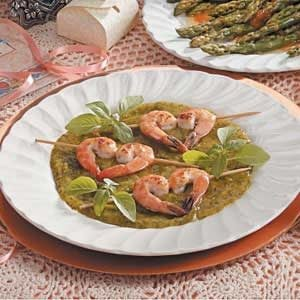 Shrimp with Basil-Mango Sauce Recipe