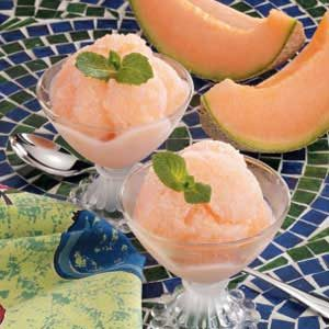 Frosty Cantaloupe Sherbet Recipe