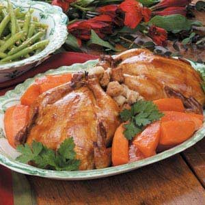 Glazed Stuffed Cornish Hens Recipe