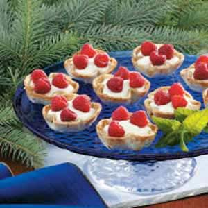 Raspberry-Topped Cream Tarts Recipe