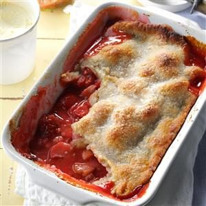 Rhubarb Strawberry Cobbler Recipe