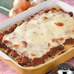 Cheesy lasagna recipe taste of home for Different kinds of lasagna recipes
