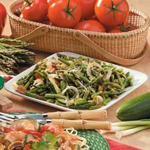 Stir-Fried Asparagus with Sliced Almonds Recipe