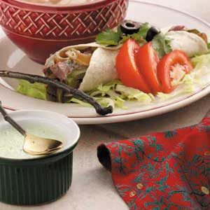 Beef Fajitas with Cilantro Sauce Recipe