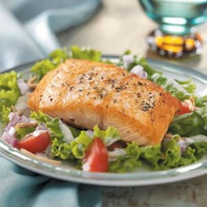 Salmon Fillets on Greens Recipe