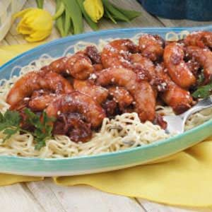 Barbecue Shrimp Over Pasta Recipe
