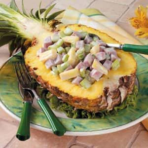 Ham Salad Pineapple Boats Recipe