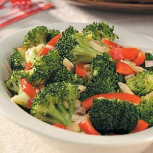 Broccoli with Sautéed Red Pepper Recipe