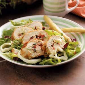 Basil Chicken over Greens Recipe