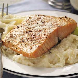 Salmon with Fettuccine Alfredo Recipe