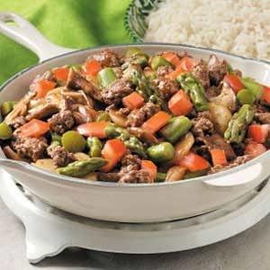 Asparagus Mushroom Beef Stir-Fry Recipe photo by Taste of Home