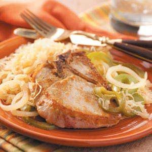 Pork Chops with Sauerkraut Recipe photo by Taste of Home