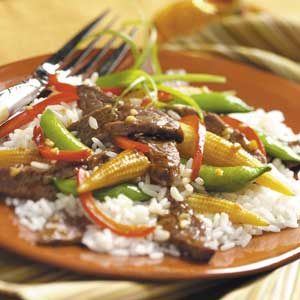 Gingered Beef and Red Peppers Stir Fry Recipe