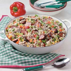 Confetti Sausage 'N' Rice Recipe