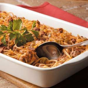 Cheesy Spaghetti Bake Recipe