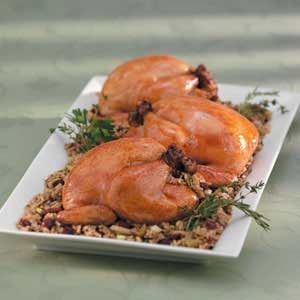 Wild Rice with Celery Stuffed Cornish Hens