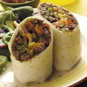 Three-Pepper Beef Wraps Recipe