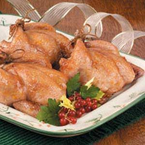 Hens with Apricot Rice Stuffing Recipe