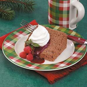 Chocolate Angel Food Cake with Raspberry Sauce Recipe