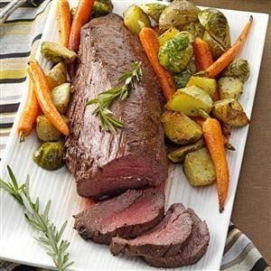 Beef Tenderloin with Roasted Vegetables Recipe