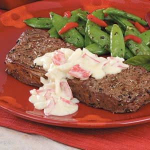 Steaks with Crab Sauce Recipe