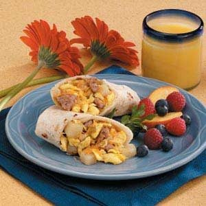 Cheesy Sausage Breakfast Burritos