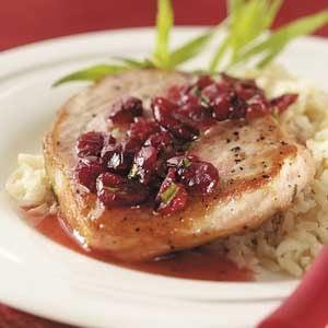 Pork Chops with Cranberry Pan Sauce Recipe