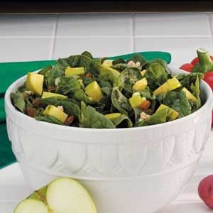 Apple-Raisin Spinach Salad Recipe