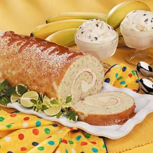 Caramel Banana Cake Roll Recipe