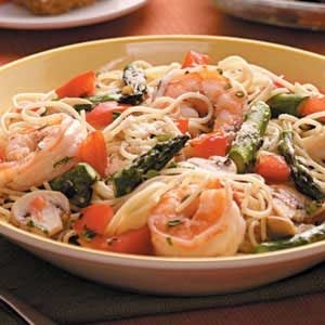 Asparagus 'n' Shrimp with Angel Hair Recipe | Taste of Home
