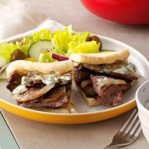 Beef Pitas with Yogurt Sauce Recipe