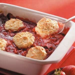 Strawberry Rhubarb Cobbler Recipe photo by Taste of Home