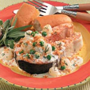 Salmon Steaks With Veggie Cream Sauce Recipe