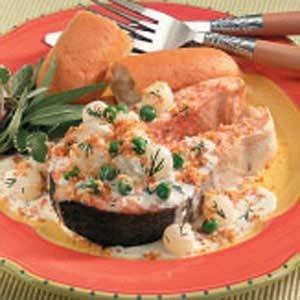Salmon Steaks With Veggie Cream Sauce