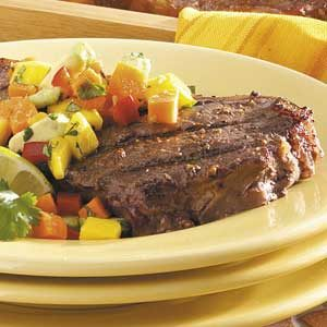 Strip Steaks with Mango Salsa Recipe