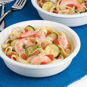 Veggie Shrimp Fettuccine Recipe