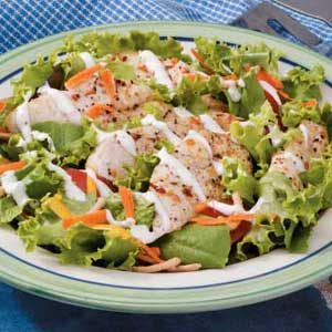 Grilled Chicken Salad with Carrots and Chow Mein Noodles