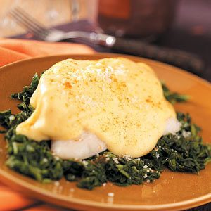 Cheesy Fish Fillets with Spinach
